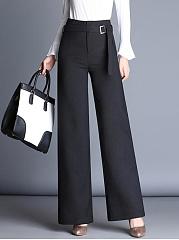 Office-Plain-Belt-High-Rise-Wide-Leg-Pants