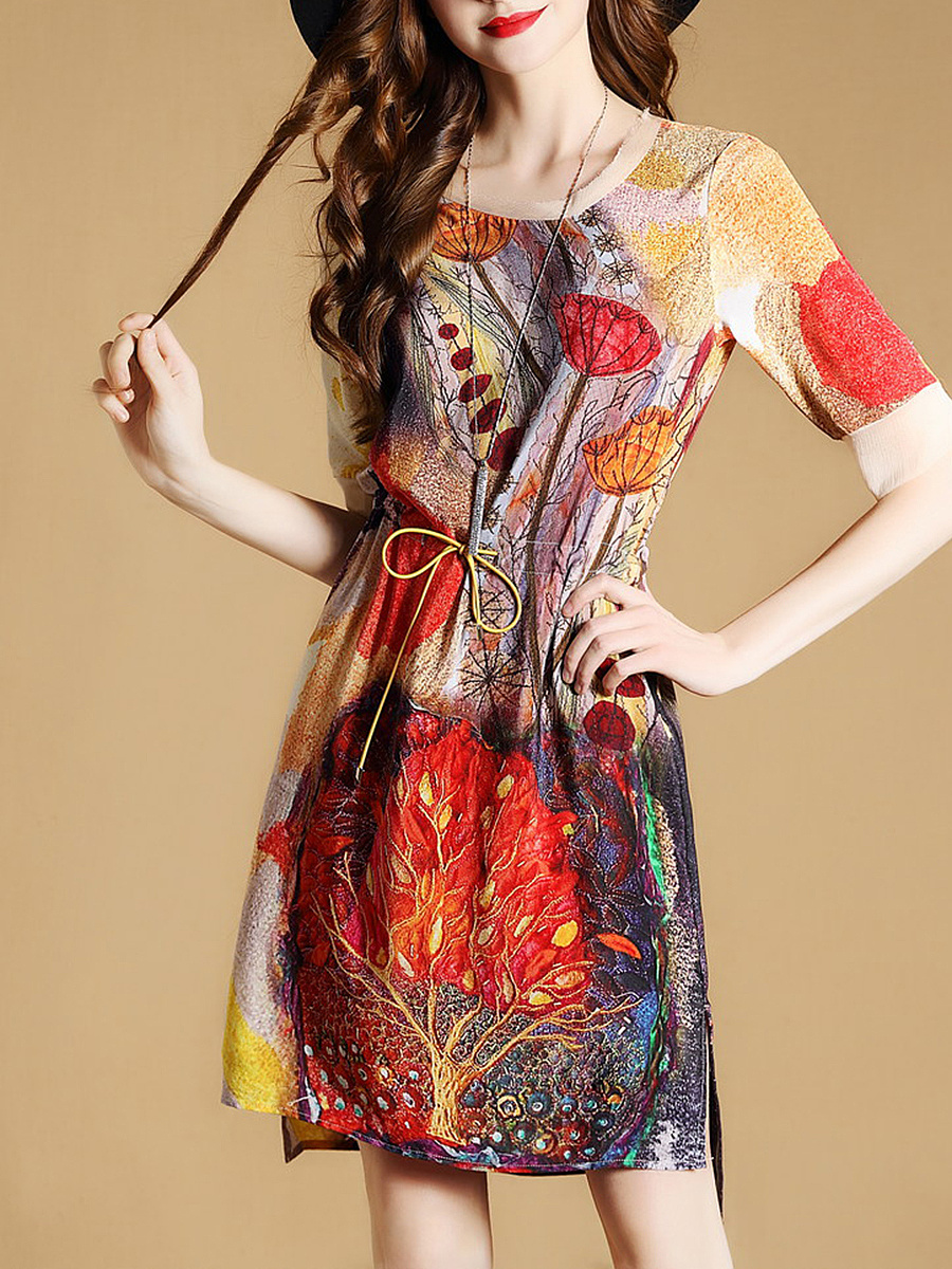 Colorful Printed Drawstring Round Neck Shift Dress