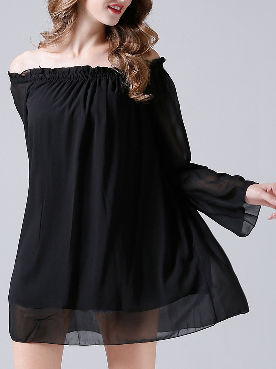 Off Shoulder Plain Chiffon Shift Dress