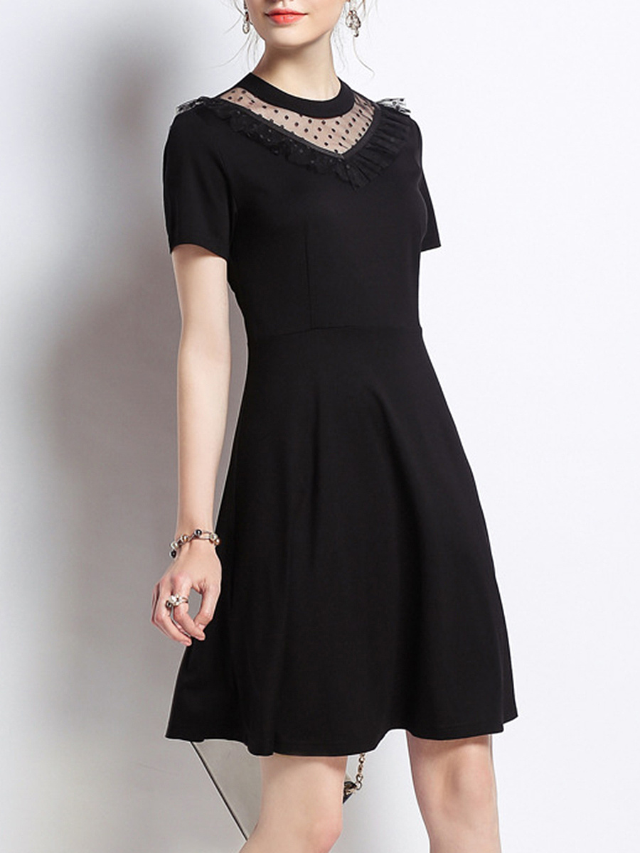 Crew Neck Patchwork See-Through Plain Skater Dress
