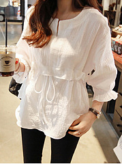 CottonLinen  Split Neck  Drawstring  Plain  Bell Sleeve  Three-Quarter Sleeve Blouse