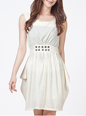 Round Neck  Ruffled Hem  Belt Decorative Hardware  Plain Skater Dress