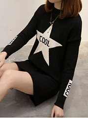 Round Neck  Color Block Casual  Letters Shift Dress