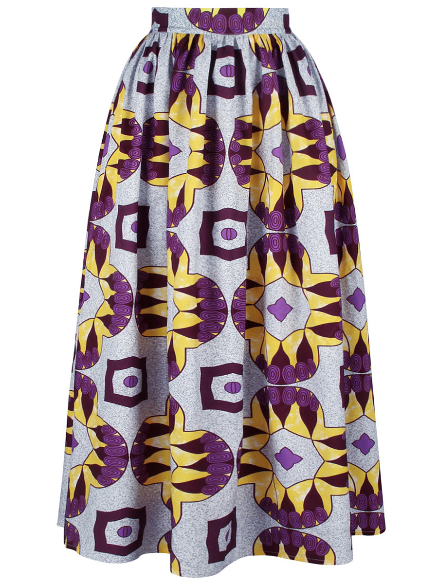 Elastic Waist Awesome Printed  Flared Maxi Skirt