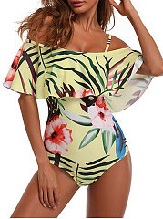 Yellow Printed Open Shoulder One Piece