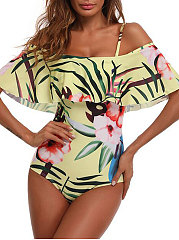Yellow-Printed-Open-Shoulder-One-Piece