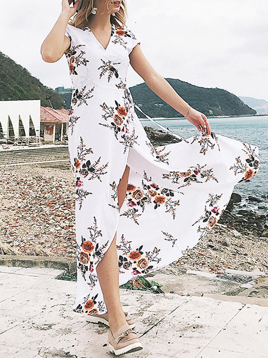 Surplice  Printed Maxi Dress