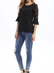 Spring Summer  Polyester  Women  Round Neck  Decorative Lace Patchwork See-Through  Plain Blouses