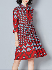Tie Collar Printed Skater Dress