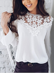 Lace  Round Neck  Decorative Lace  Plain  Bell Sleeve  Long Sleeve Blouse
