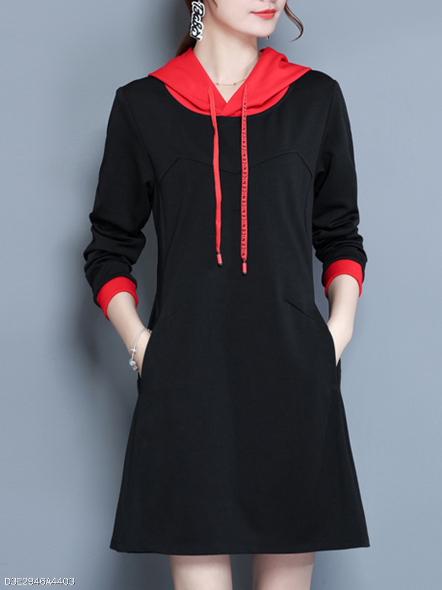 Hooded  Drawstring  Plain Shift Dress