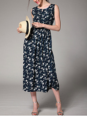 Round Neck  Elastic Waist  Printed Maxi Dress