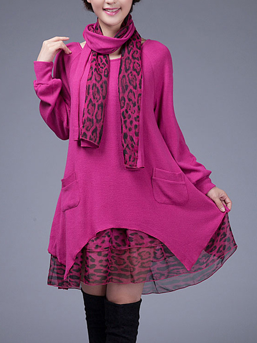 Leopard Patchwork Shift Dress With Scarf