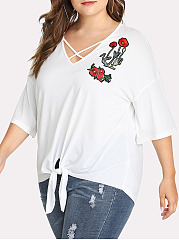 Asymmetric Neck  Embroidery  Half Sleeve Plus Size Tops