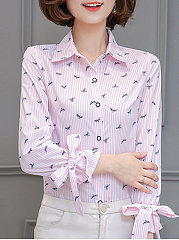 Autumn Spring  Polyester  Women  Turn Down Collar  Single Breasted  Animal Printed Striped  Tie Sleeve  Long Sleeve Blouses
