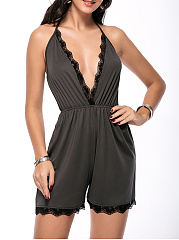X-Back-Spaghetti-Strap-Decorative-Lace-Plain-Straight-Romper