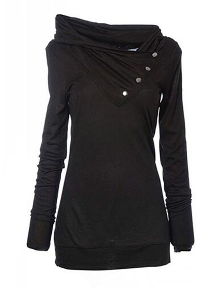 Cowl Neck  Plain  Long Sleeve Hoodies