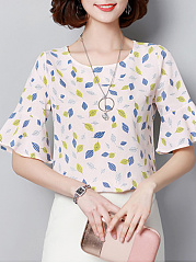 Spring Summer  Polyester  Women  Round Neck  Printed  Bell Sleeve  Short Sleeve Blouses
