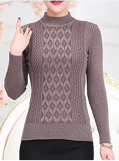 High Neck  Beading  Plain  Long Sleeve Sweaters Pullover