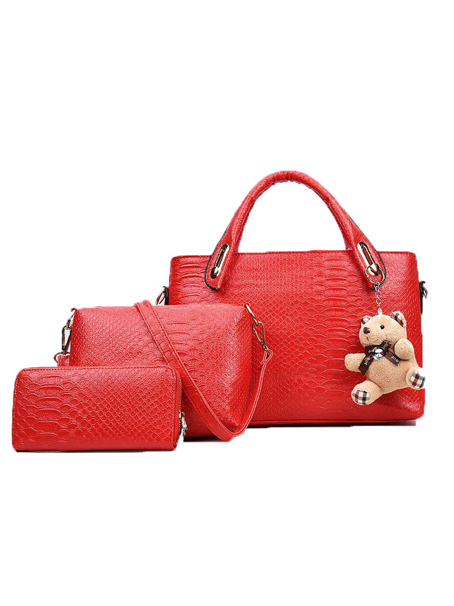 Three Pieces Plain Women Hand Bags