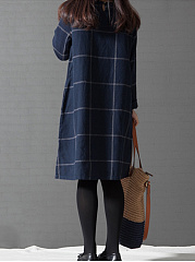 Casual Plaid Round Neck Shift Dress