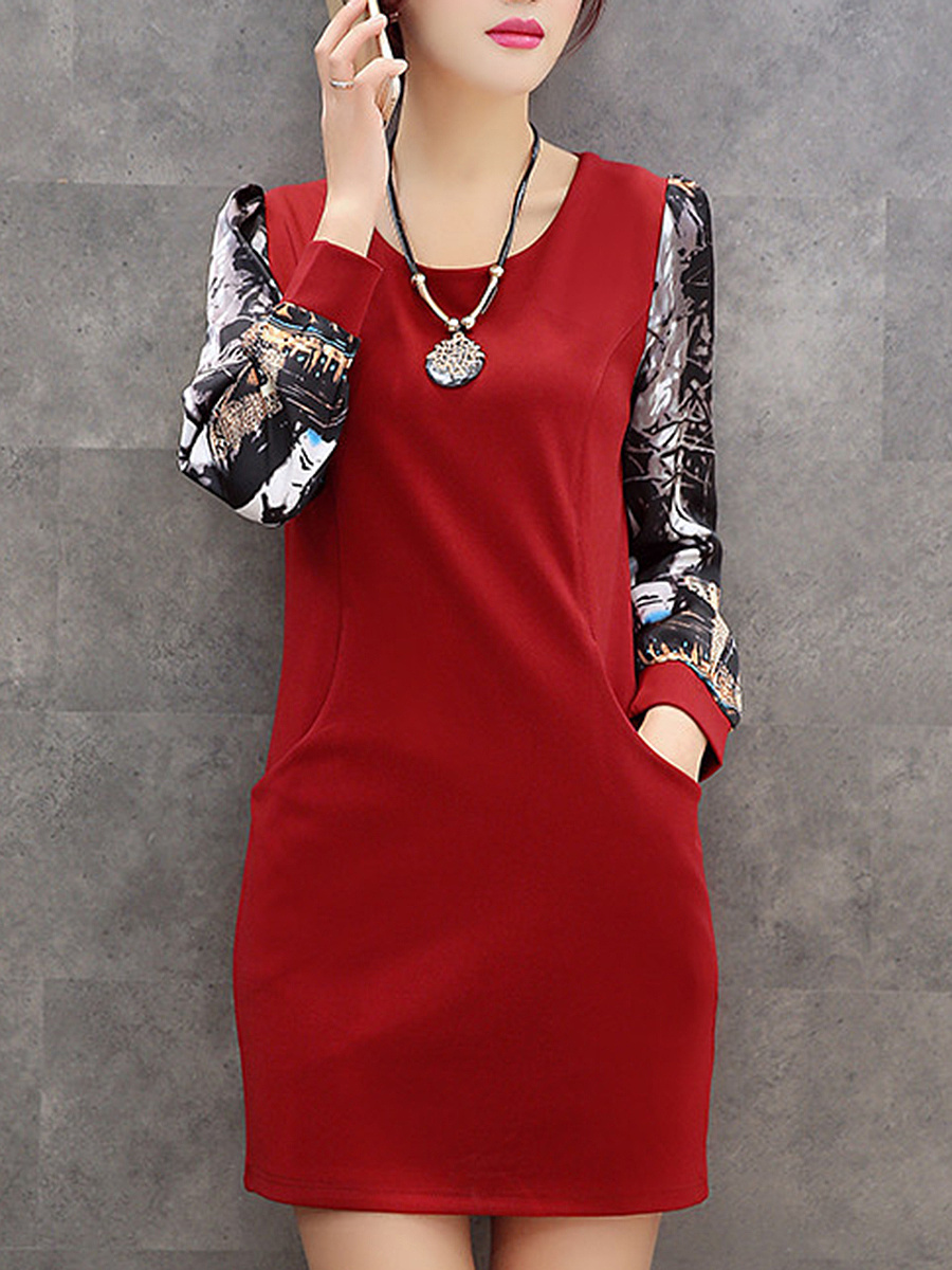 Round Neck Printed Pocket Mini Bodycon Dress