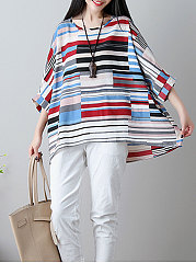 Spring Summer  Cotton  Women  Round Neck  Striped  Batwing Sleeve  Three-Quarter Sleeve Blouses