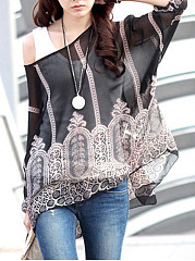 One-Shoulder-Printed-See-Through-Bell-Sleeve-Tunic