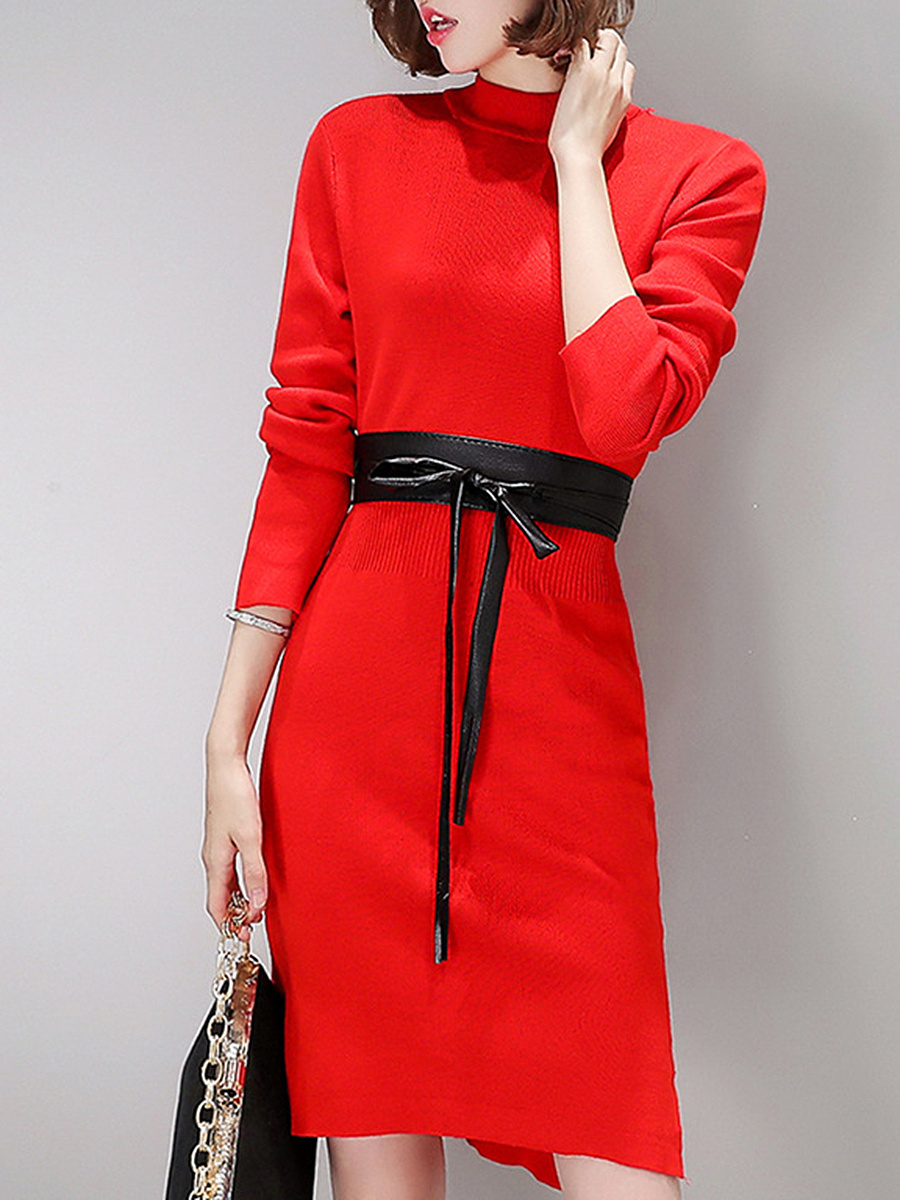 High Neck Plain Side Slit Belt Knitted Bodycon Dress