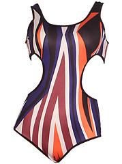 Scoop-Neck-Cutout-Asymmetric-Stripe-One-Piece