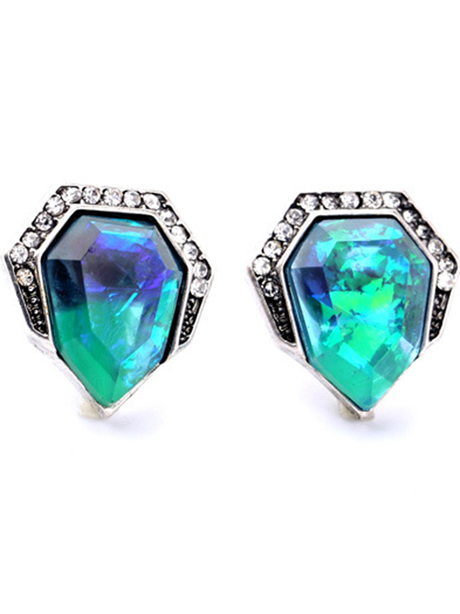 Geomatric-Shaped Faux Crystal Stud Earrings