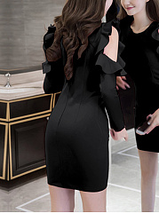 Round Neck Cutout Flounce Plain Mini Bodycon Dress