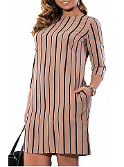 Round Neck  Printed Striped Plus Size Bodycon Dresses