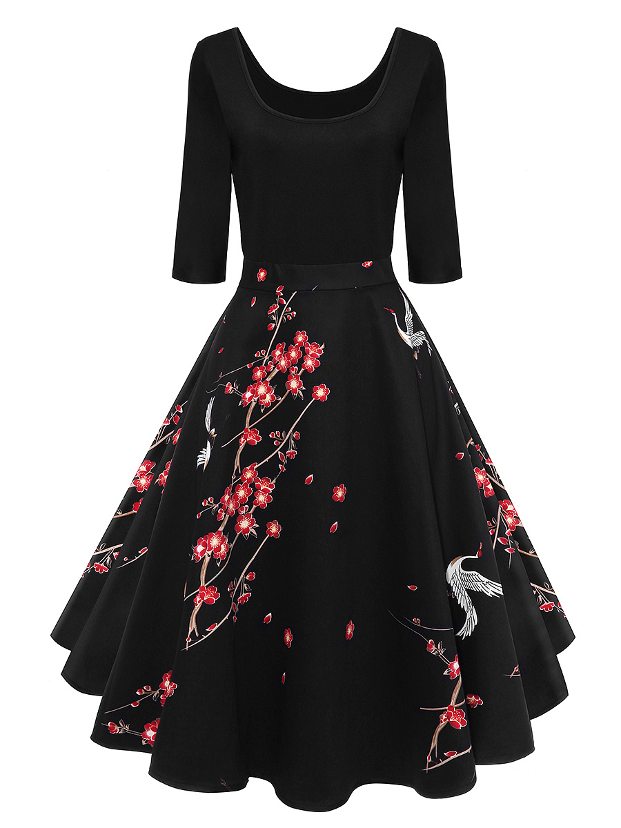 Round Neck  Patchwork  Printed  Cotton Skater Dress