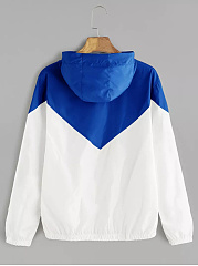 Hooded  Color Block  Long Sleeve Jackets