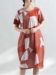 Round Neck  Flap Pocket  Color Block Geometric Plus Size Midi & Maxi Dress