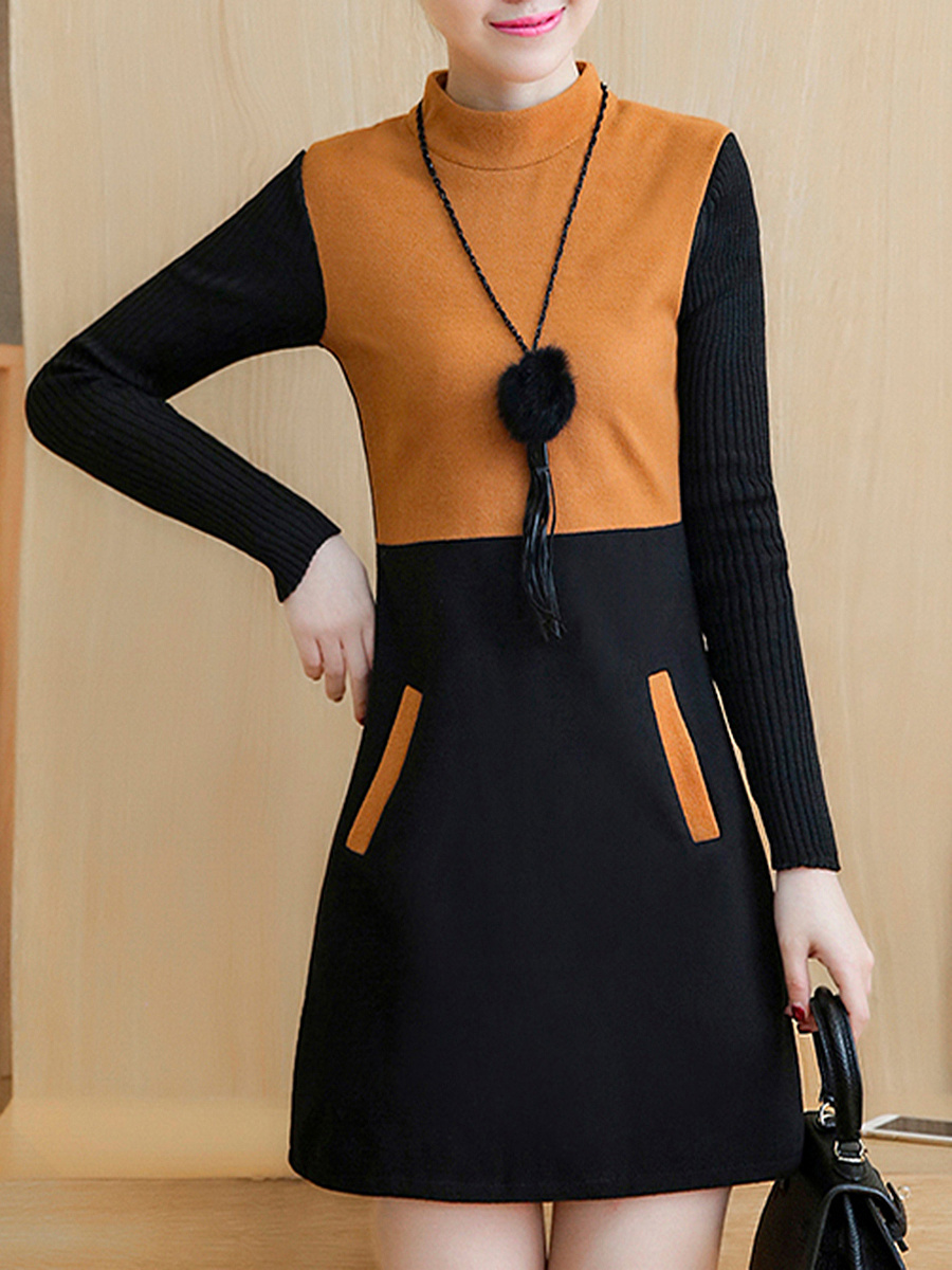 Band Collar Color Block Woolen Mini Shift Dress