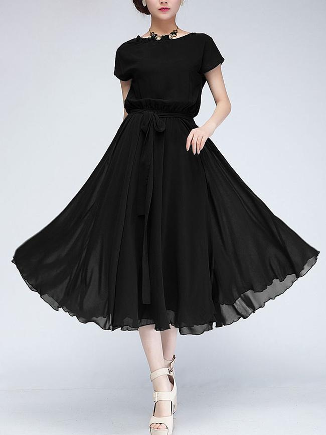 Image of Fashionmia Asymmetric Neck Elastic Waist Plain Chiffon Maxi Dress
