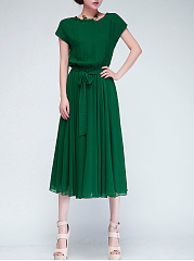 Asymmetric Neck  Elastic Waist  Plain  Chiffon Maxi Dress