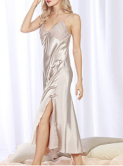 Spaghetti Strap Maxi Dress Satin Nightgown