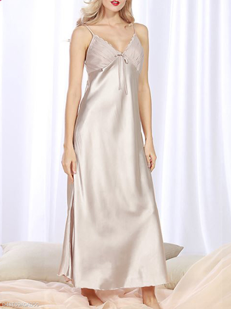 Spaghetti Strap Maxi Dress Satin Nightgown - fashionMia.com