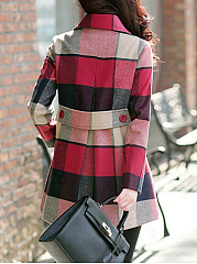 Lapel  Double Breasted Patch Pocket  Plaid  Long Sleeve Coats