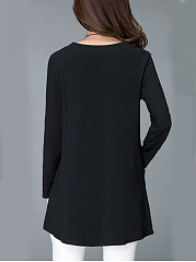 Round Neck Pocket Long Sleeve T-Shirt