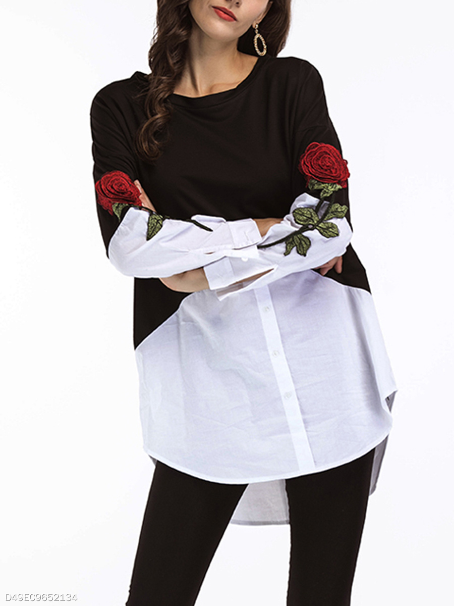 Autumn Spring  Blend  Round Neck  Color Block Embroidery  Long Sleeve Blouses