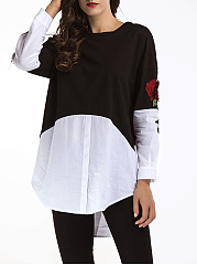 Color Block Embroidery High-Low Shirts
