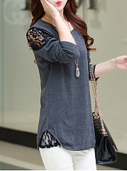 Autumn Spring  Polyester  Women  Round Neck  Decorative Lace  Plain Long Sleeve T-Shirts