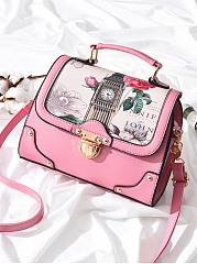 Big Ben And Rose Printed Crossbody Bag