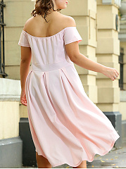 Off Shoulder Plus Size Skater Dress