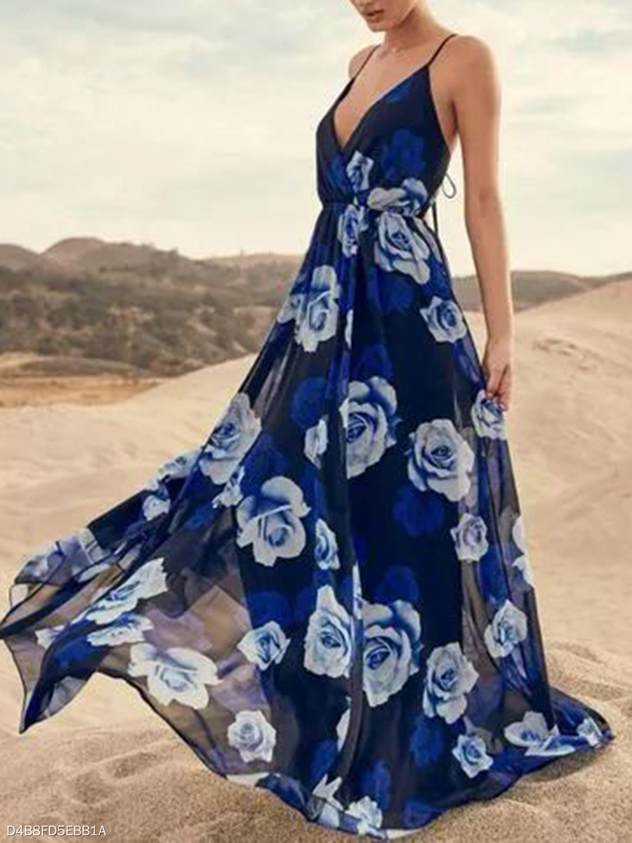 Spaghetti Strap  Elastic Waist Vacation Printed Maxi Dress