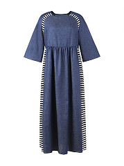 Round Neck  Patchwork  Striped Maxi Dress
